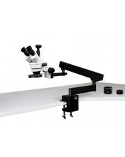 VS-7FZ-IFR08-3N Simul-Focal Trinocular Zoom Stereo Microscope - 0.7X - 4.5X Zoom Range, 0.5X & 2.0X Auxiliary Lenses, 144-LED Four-Zone Ring Light, 3MP Digital Eyepiece Camera
