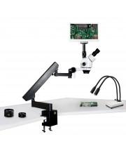 "VS-7FZ-IHL20-RET11.6 Simul-Focal Trinocular Zoom Stereo Microscope - 0.7X - 4.5X Zoom Range, 0.5X & 2.0X Auxiliary Lenses, Dual Gooseneck LED Light, 11.6"" HD Retina Screen With 5MP Camera"