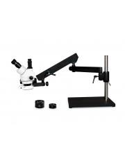VS-9FZ-IFR07 Simul-Focal Trinocular Zoom Stereo Microscope - 0.7X - 4.5X Zoom Range, 0.5X & 2.0X Auxiliary Lenses, 144-LED Ring Light