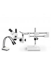 VS-5F-IHL20 Simul-Focal Trinocular Zoom Stereo Microscope - 0.7X - 4.5X Zoom Range, Dual Gooseneck LED Light