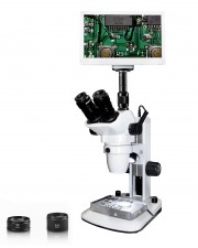 "Vision Scientific VMS0006 Trinocular Zoom Stereo Microscope, 10x WF Eyepiece, 0.67x-4.5x Zoom, 3.3x-90x Magnification, 0.5x & 2x Aux Lens, LED Light, Track Stand, 11.6"" Retina HD Display w/ 5MP Camera"