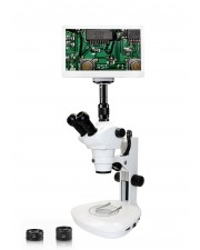 """Vision Scientific VMS0007 Trinocular Zoom Stereo Microscope, 10x WF Eyepiece, 0.8x—5x Zoom, 4x—100x Magnification, 0.5x & 2x Aux Lens, LED Light, Track Stand, 11.6"""" Retina HD Display with 6MP Camera"""