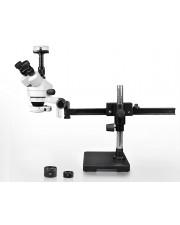 VS-2AFZ-IFR07-10N Simul-Focal Trinocular Zoom Stereo Microscope - 0.7X-4.5X Zoom Range, 0.5X & 2.0X Auxiliary Lenses, 144-LED Ring Light, 10MP Digital Eyepiece Camera