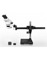 VS-2AEZ-IFR07 Binocular Zoom Stereo Microscope - 0.7X-4.5X Zoom Range, 0.5X & 2.0X Auxiliary Lenses, 144-LED Ring Light