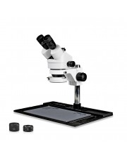 VS-10FZ-IFR07 Simul-Focal Trinocular Zoom Stereo Microscope - 0.7X - 4.5X Zoom Range, 0.5X & 2.0X Auxiliary Lenses, 144-LED Ring Light