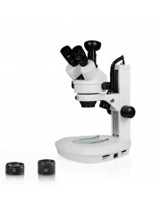 Vision Scientific Trinocular Zoom Stereo Microscope, 10x WF Eyepiece, 0.7x—4.5x Zoom, 3.5x—90x Magnification, 0.5x & 2x Aux Lens, LED Illumination, Track Stand, 3.0MP Digital Eyepiece Camera