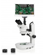 "Vision Scientific Trinocular Zoom Stereo Microscope, 10x WF Eyepiece, 0.7x-4.5x Zoom, 3.5x-90x Magnification, 0.5x & 2x Aux Lens, LED Light, Track Stand, 11.6"" Retina HD Display with 5MP Camera"