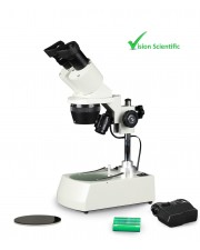 Binocular Stereo Microscope, 10x Widefield Eyepiece, 1x and 2x Objectives, 10x and 20x Magnification, Top and Bottom LED Illumination, Frosted Glass Plate and Black & White Reversible Stage Plate, Post-Mounted Stand, 110V or Cordless Rechargeable Battery