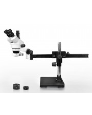 VS-2AFZ-IFR07 Simul-Focal Trinocular Zoom Stereo Microscope - 0.7X-4.5X Zoom Range, 0.5X & 2.0X Auxiliary Lenses, 144-LED Ring Light