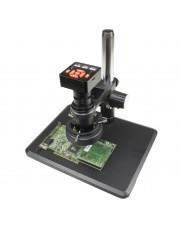 VS-12-5607NS-IFR09 Monocular Zoom Industrial Inspection Microscope W 16MPHDMI/USB Digital Camera | 0.7x-5.0x zoom range, 0.4x C-Mount | Pillar stand W large base |144-LED ring light
