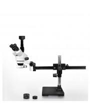 VS-2AFZ-IFR07-5N Simul-Focal Trinocular Zoom Stereo Microscope - 0.7X-4.5X Zoom Range, 0.5X & 2.0X Auxiliary Lenses, 144-LED Ring Light, 5MP Digital CMOS Camera